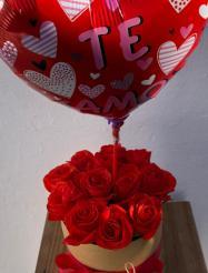 rosas en caja rústica